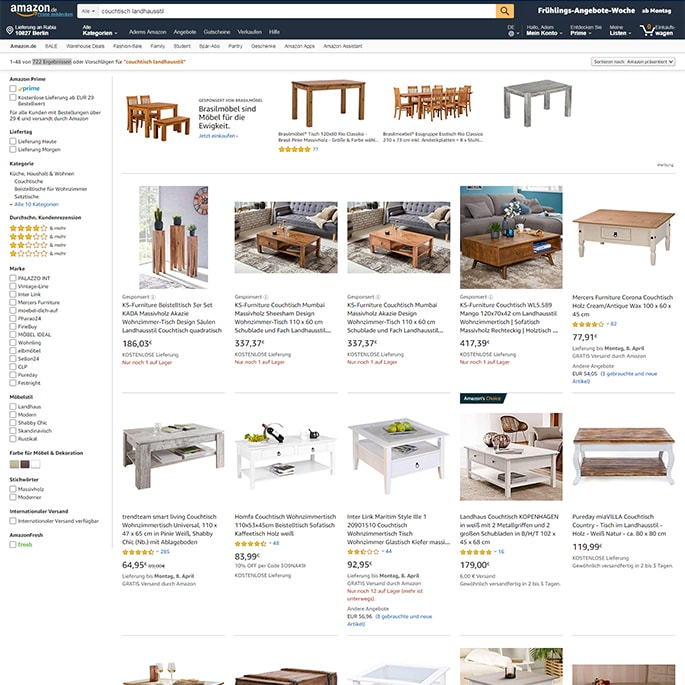 Amazon Couchtisch Landhausstil Screenshot